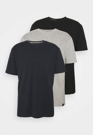 CORE 3 PACK - Basic T-shirt - black/navy/grey marl