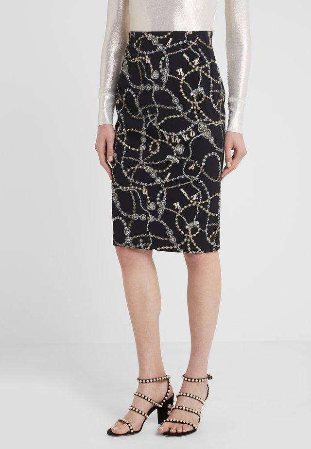 ILLUSIONE GONNA GIOIELLO - Pencil skirt - multi/nero/oro