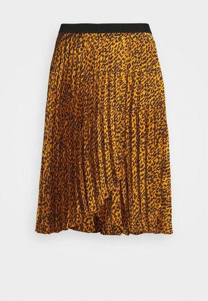 ANIMAL PRINT WRAP FRONT PLEATED MIDI SKIRT - A-line skirt - tan/black