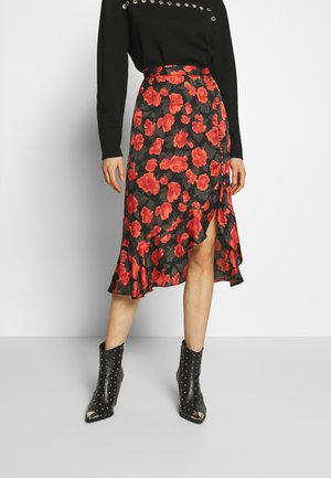 SKIRT - Spódnica trapezowa - black - red