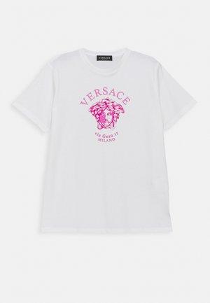 SHORT SLEEVES VIA GESU RUBBERIZED UNISEX - Triko s potiskem - white/fuchsia