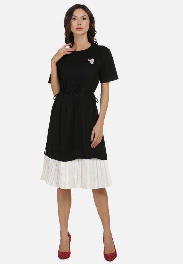 KLEID - Day dress - schwarz weiss
