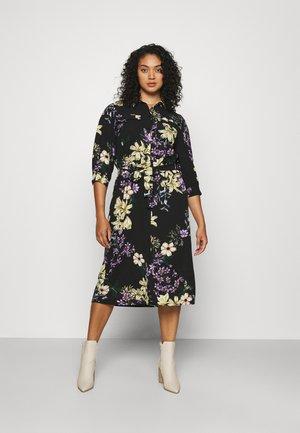 CARNOVA LONG SHIRT DRESS - Denní šaty - black/dark botanic