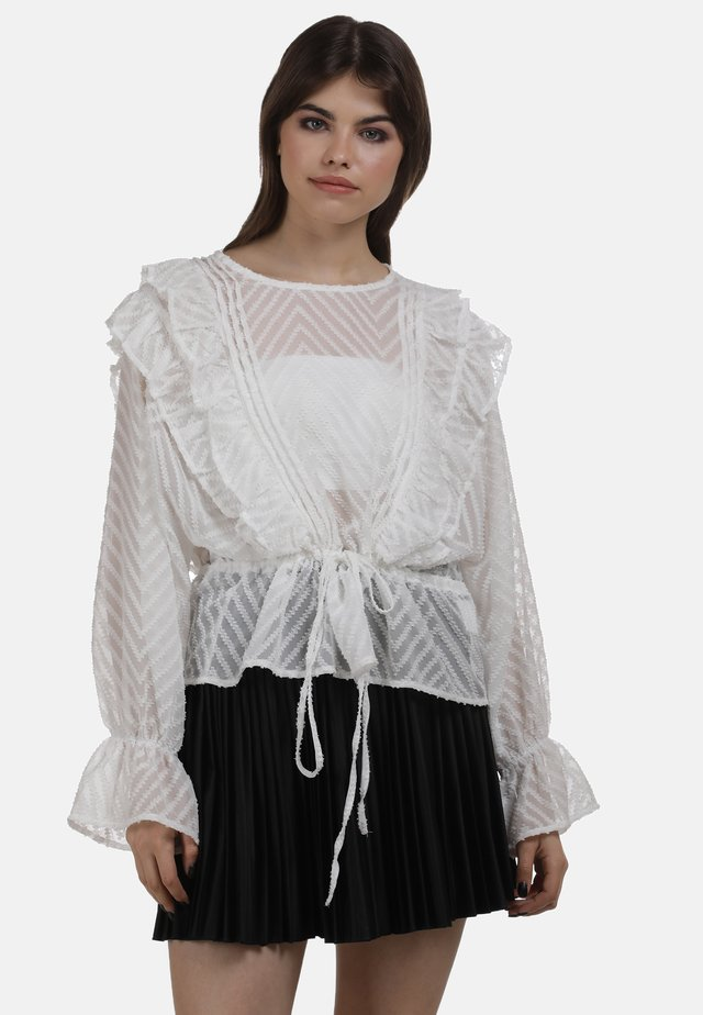 BLUSE - Blouse - wollweiss