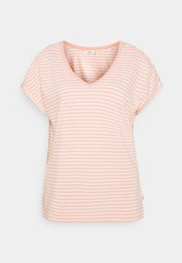 Marc O'Polo DENIM - SHORT SLEEVE WIDE BODYSHAPE VNECK - Print T-shirt - multi/peach bud - 0