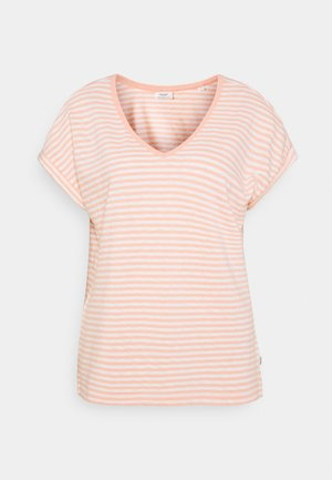 SHORT SLEEVE WIDE BODYSHAPE VNECK - Print T-shirt - multi/peach bud