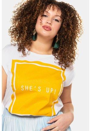 Print T-shirt - white, yellow