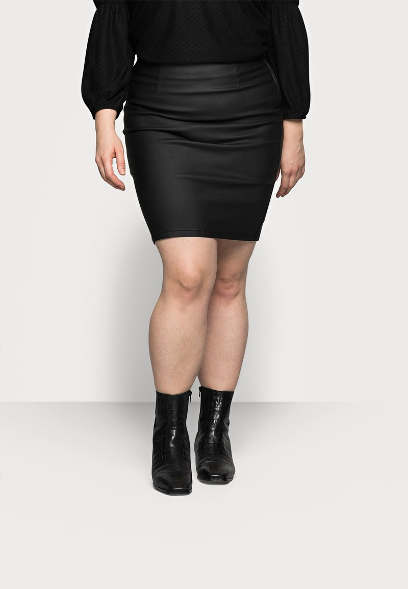 Pieces Curve - PCPARO COATED SKIRT - Pencil skirt - black