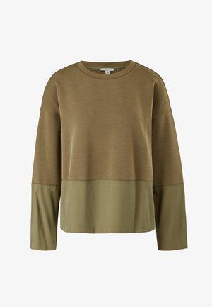 SCUBA-SHIRT MIT TWILL-PARTIEN - Maglietta a manica lunga - khaki