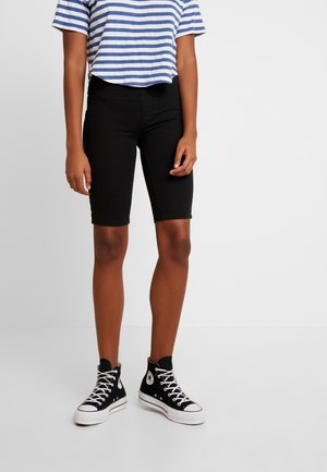 PULL ON BIKER - Jeansshorts - black