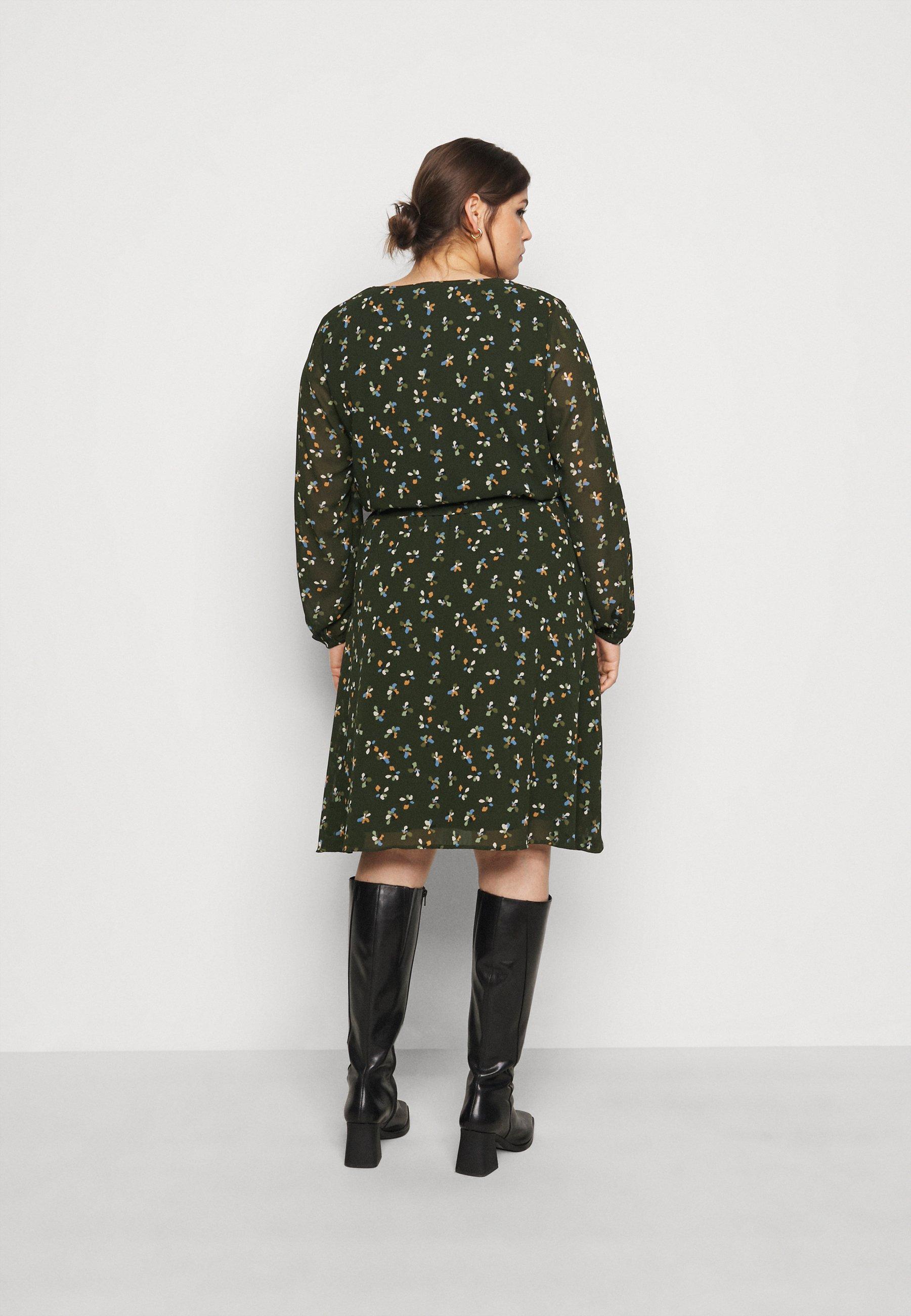 MY TRUE ME TOM TAILOR FEMININE FAKE WRAP DRESS Freizeitkleid rosin/khaki