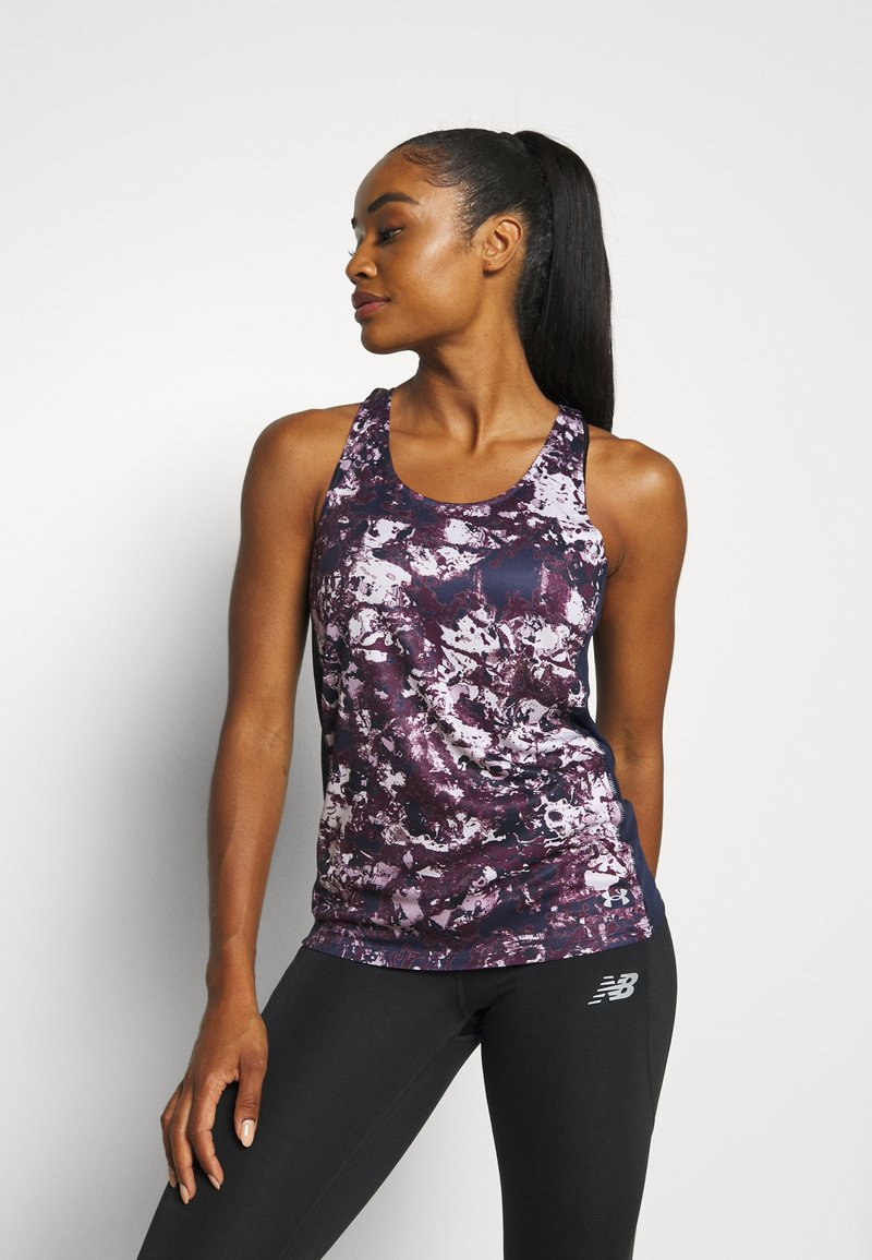 Under Armour - FLY BY PRINTED TANK - Sports shirt - purple