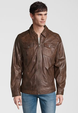 Leren jas - dark brown