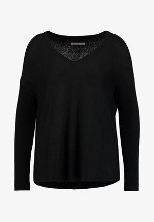 RELAXED V-NECK - Pullover - black