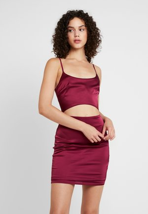 CUT OUT MINI DRESS - Robe en jersey - burgundy