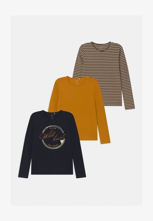 NKFRAVLINE 3 PACK - Long sleeved top - dark blue/mustard yellow