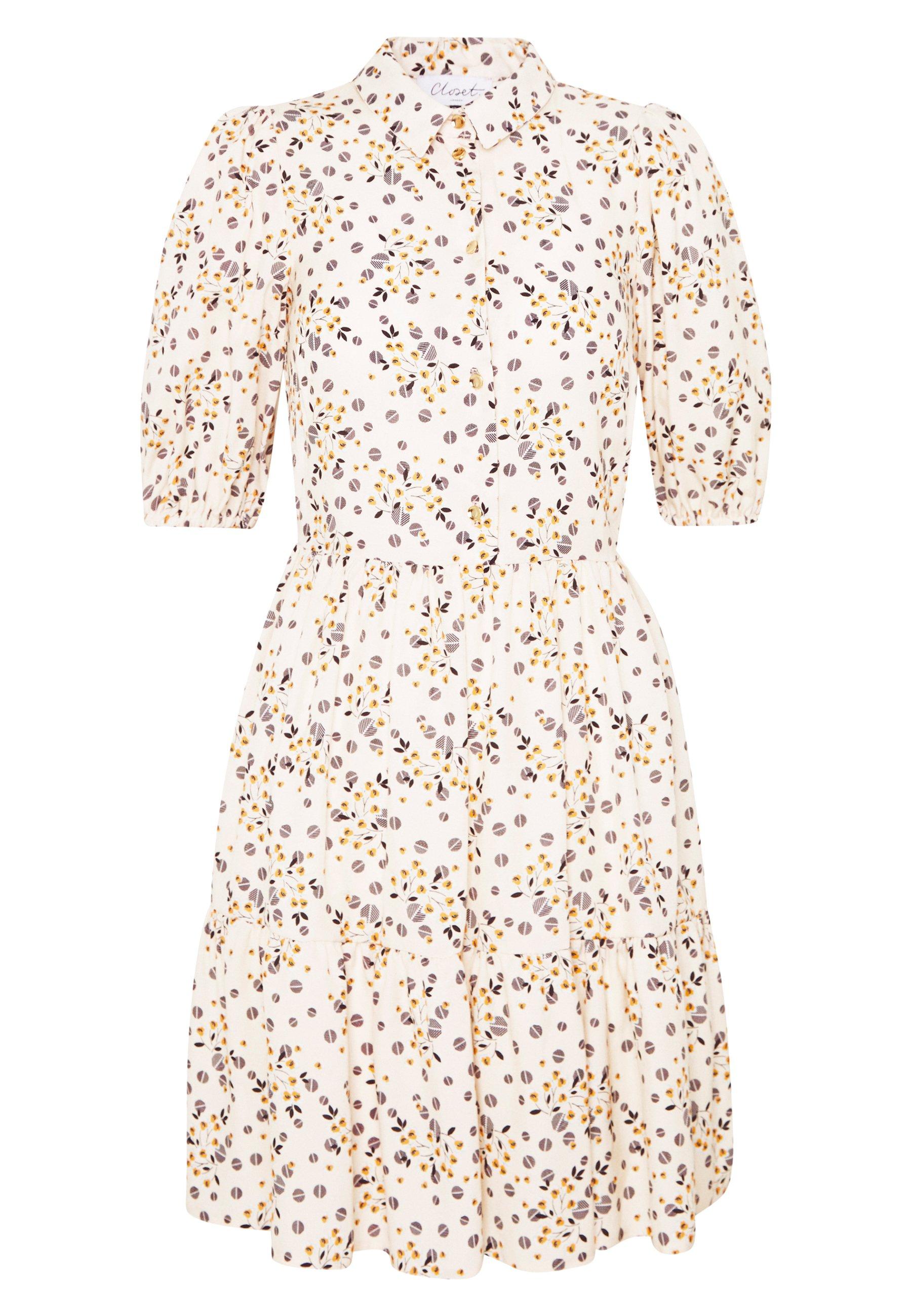 Closet Gathered Shirt Dress - Robe Chemise Beige