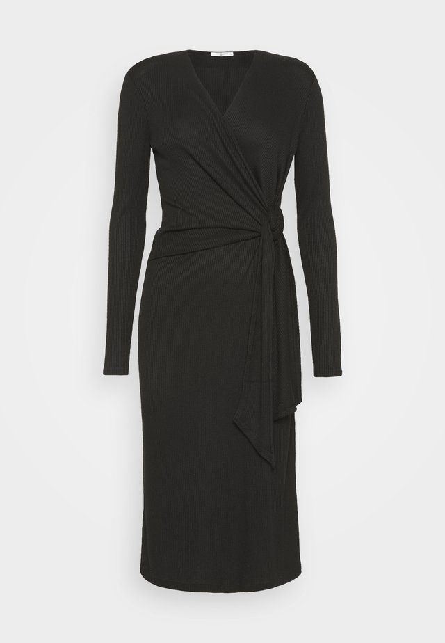 TIE MIDI DRESS - Gebreide jurk - black