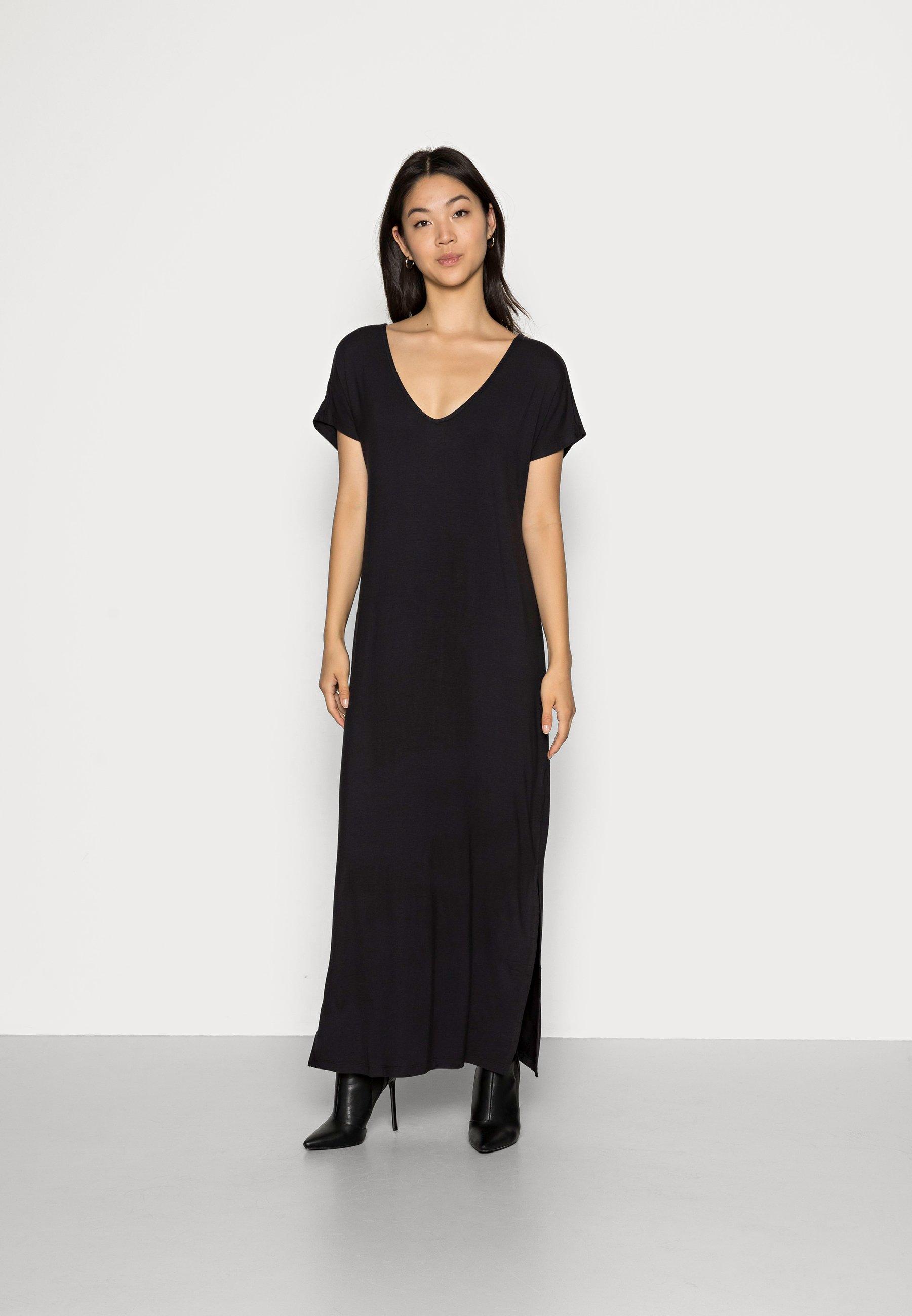 Donna SHORT SLEEVES V NECK BASIC DRESS WITH SLIT - Vestito lungo