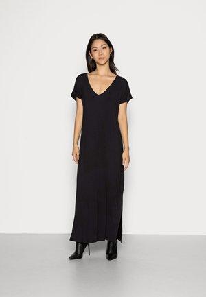 SHORT SLEEVES V NECK BASIC DRESS WITH SLIT - Maxi dress - black
