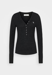 Abercrombie & Fitch - COZY HENLEY - Jumper - black - 4