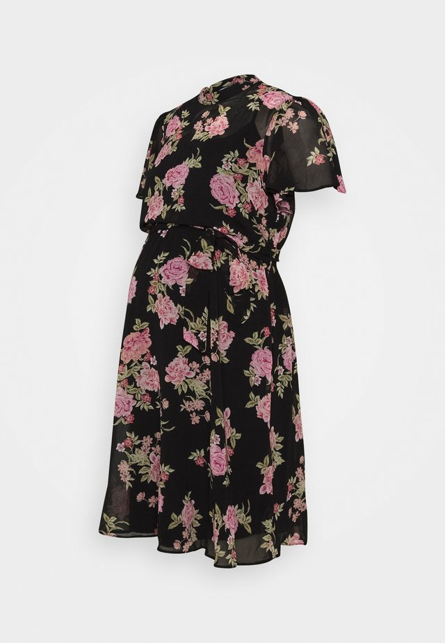 FLORAL FIT & FLARE - Jerseykjoler - black/rose