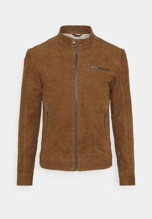 SLHICONIC CLASSIC SUEDE - Leather jacket - rubber