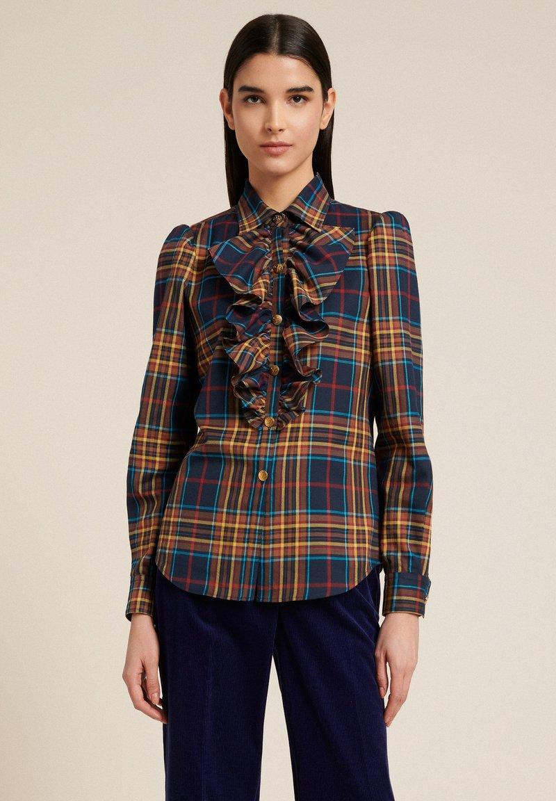 Luisa Spagnoli - LUTER - Button-down blouse - var blu/tabacco