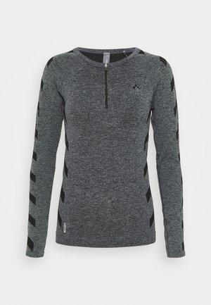 ONPSUE CIRCULAR ZIP TRAINING  - Funktionsshirt - dark grey melange/black