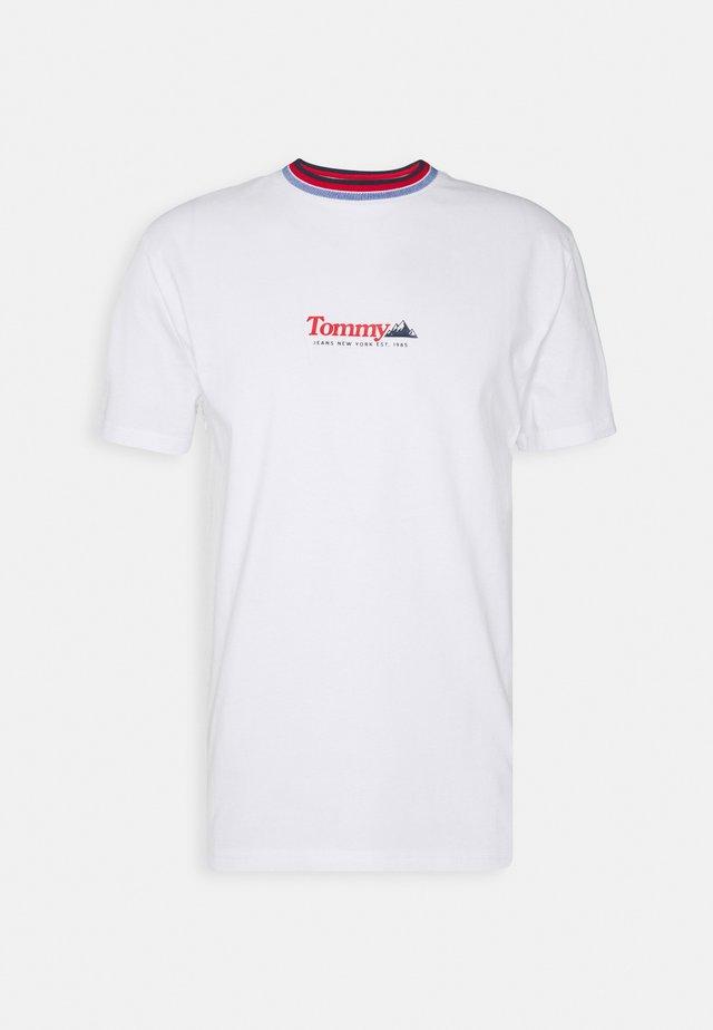 CONTRAST COLLAR TEE UNISEX - Camiseta estampada - white