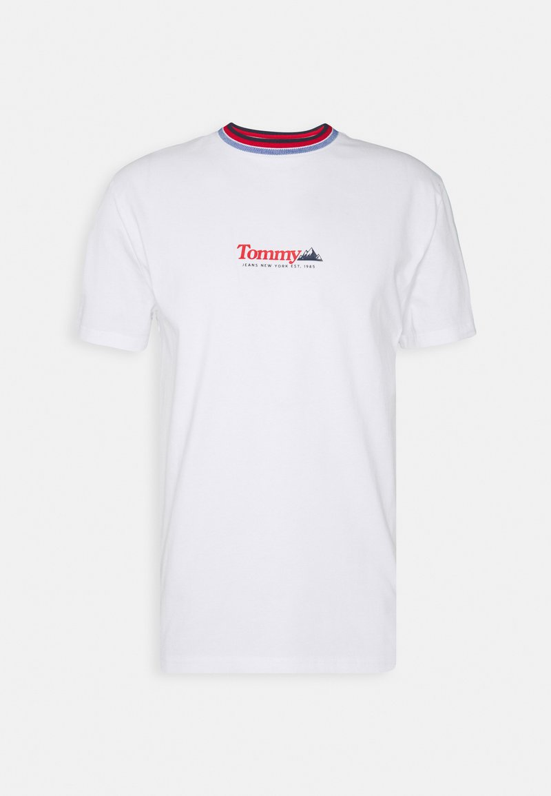 Tommy Jeans - CONTRAST COLLAR TEE UNISEX - Print T-shirt - white