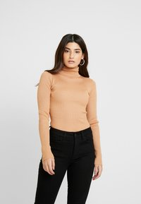 Missguided Petite - ROLL NECK BODY - Long sleeved top - camel - 0