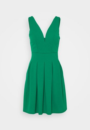 PLEATED SKATER DRESS - Cocktail dress / Party dress - leaf green