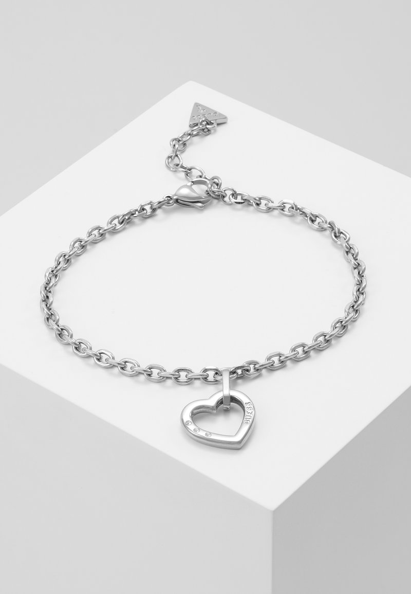 Guess - HEARTED CHAIN - Bransoletka - silver-coloured