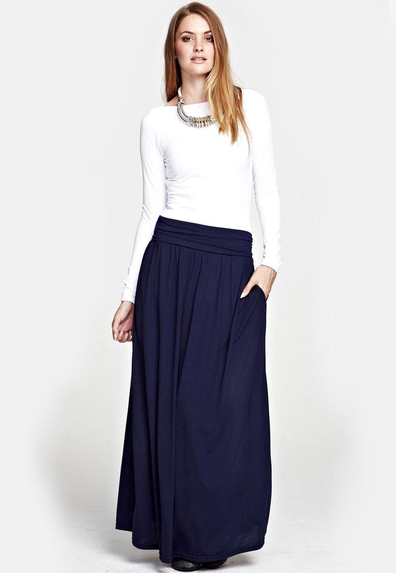 HotSquash - LUXURY - Maxi skirt - inky navy