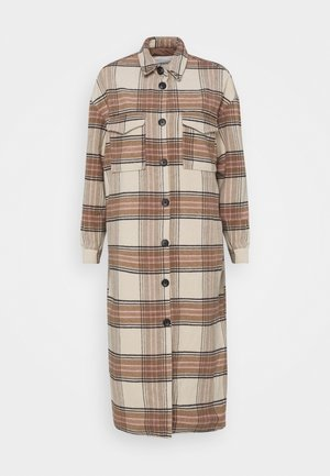 ONLLOLLY LONG CHECK COAT - Mantel - whitecap gray
