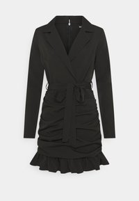Missguided - RUCHED FRILL BLAZER DRESS - Etuikjole - black - 0