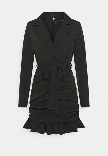 RUCHED FRILL BLAZER DRESS - Sukienka etui - black