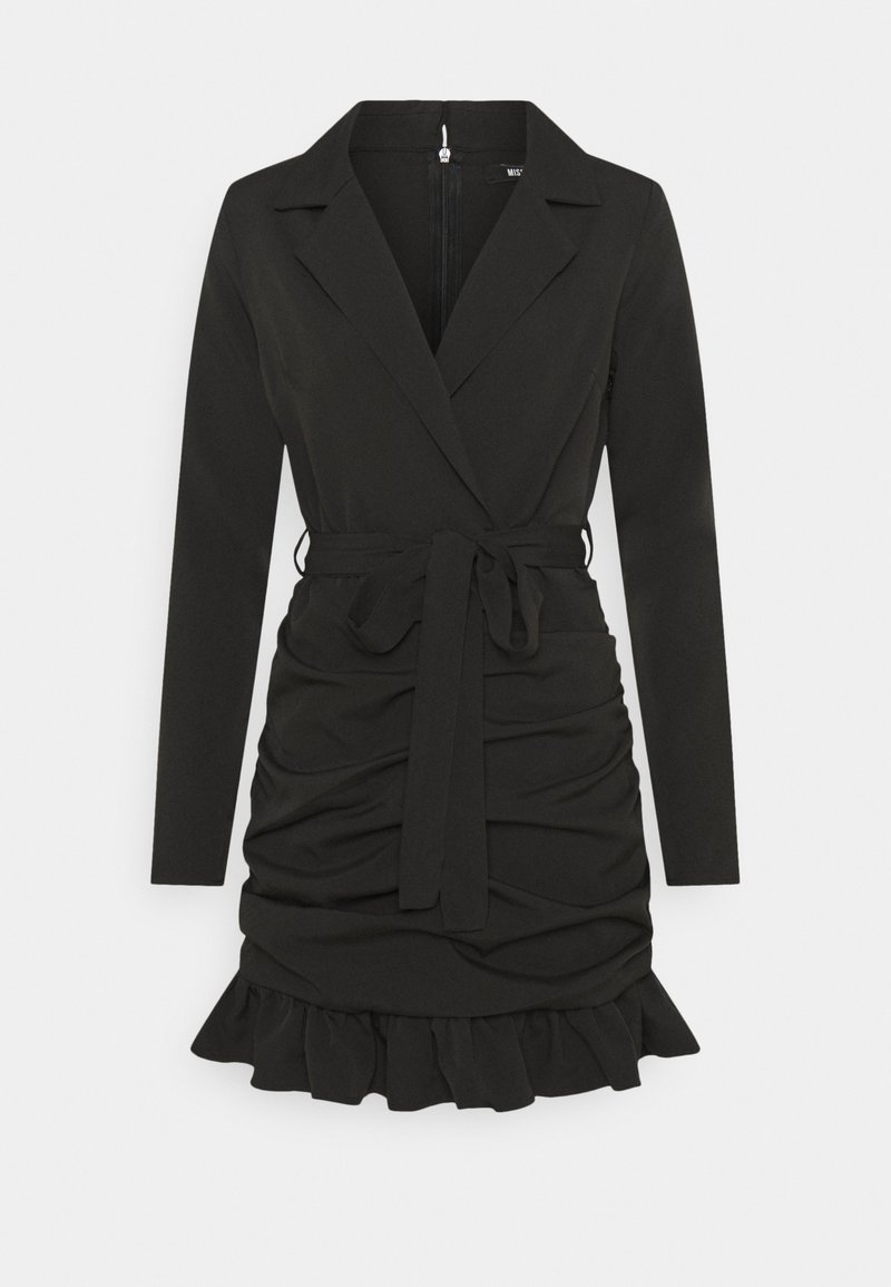 Missguided - RUCHED FRILL BLAZER DRESS - Etuikjole - black