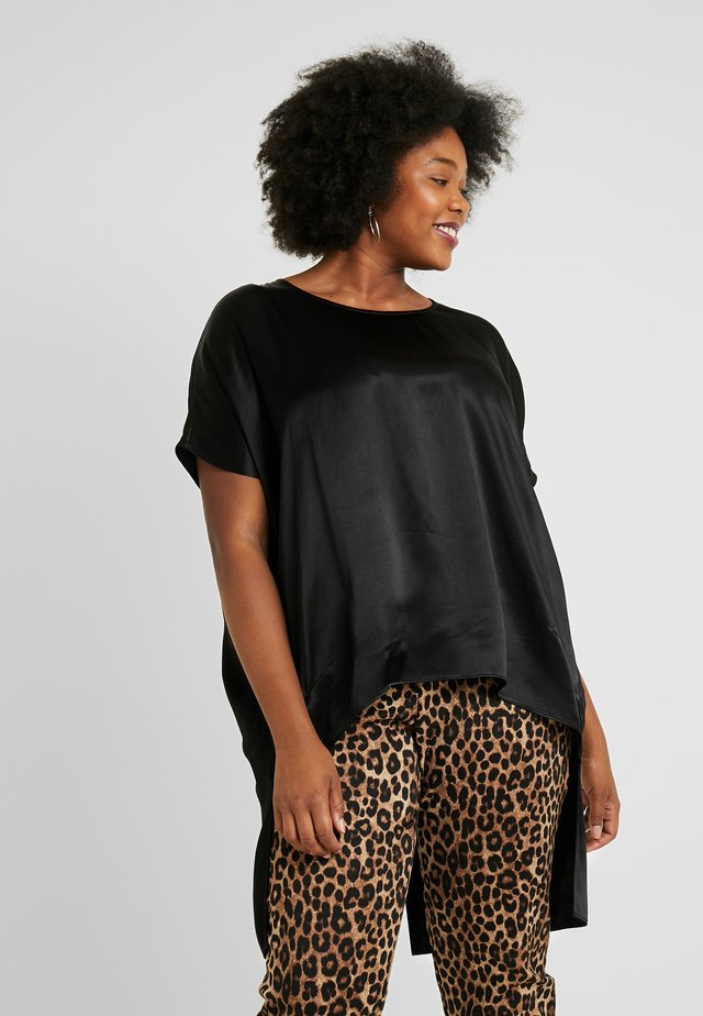 COCOON TOP WITH LONG SPLIT BACK - Pusero - black