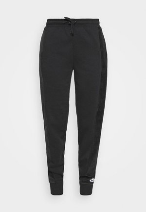 HRTG VELOUR - Tracksuit bottoms - black/white