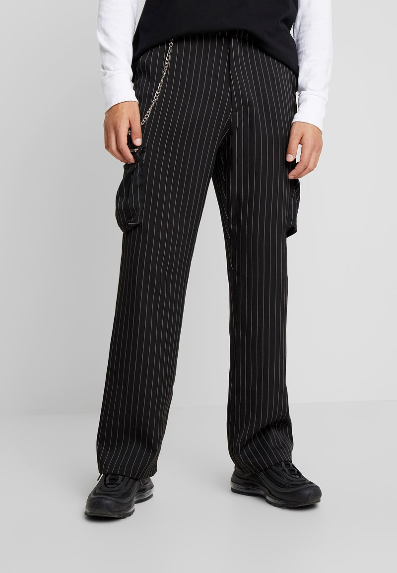 Jaded London - PINSTRIPE TROUSERS - Pantalon cargo - black