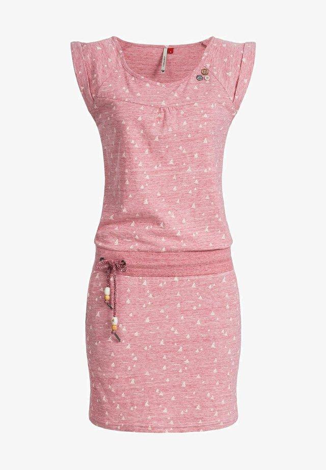 Korte jurk - rosa meliert