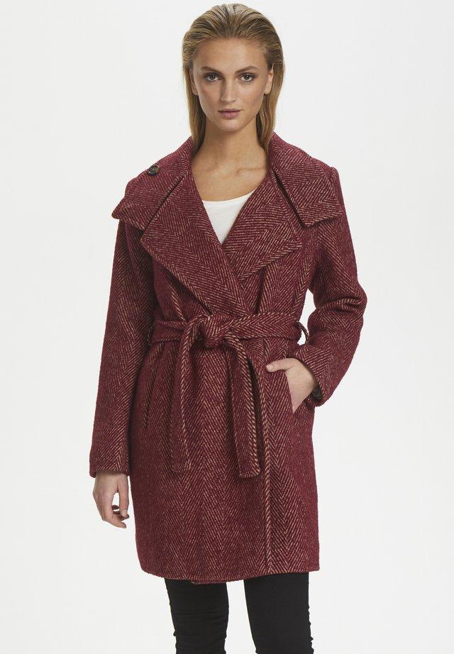 Płaszcz wełniany /Płaszcz klasyczny - syrah heringbone