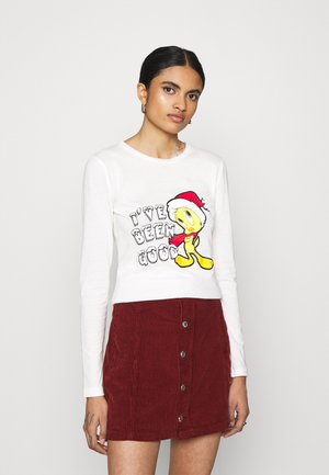 XMAS TEE - Long sleeved top - cloud dancer/yellow