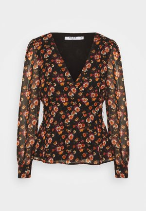 FRONT WRAP BLOUSE - Bluser - black