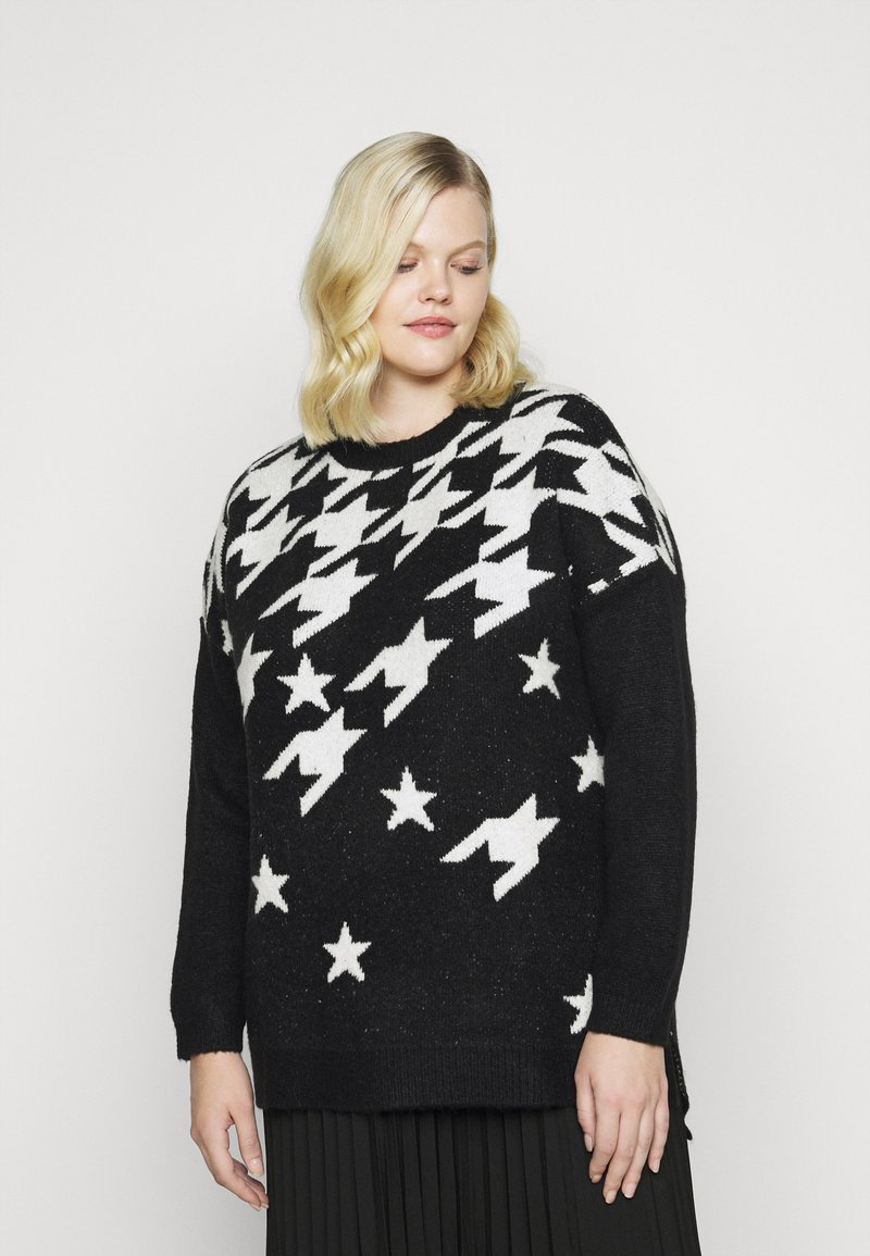 CAPSULE by Simply Be - COSY BOYFRIEND HOUNDSTOOTH STAR JUMPER - Jumper - black/ivory