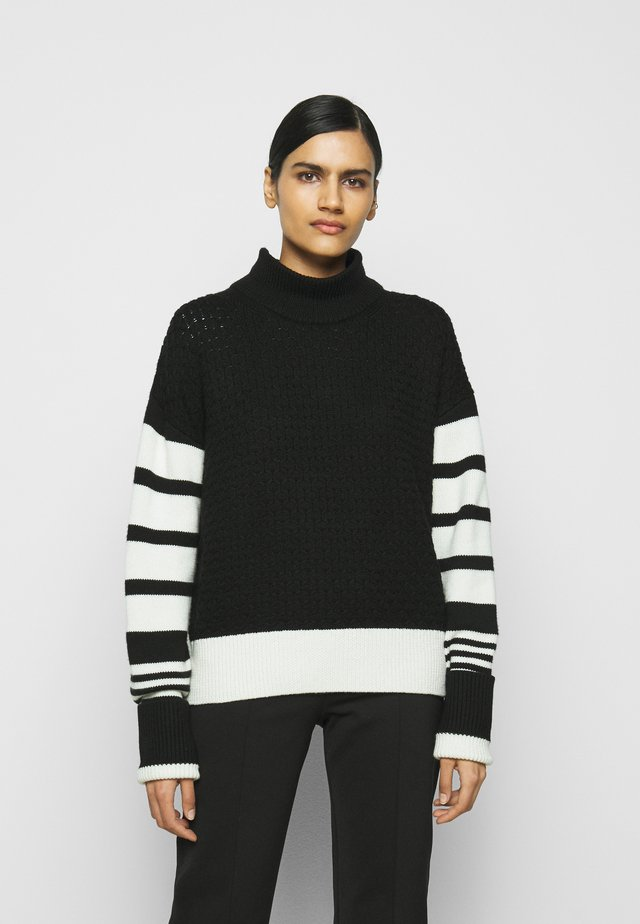 LOOSE MOCK NECK GUERNSEY - Jumper - black