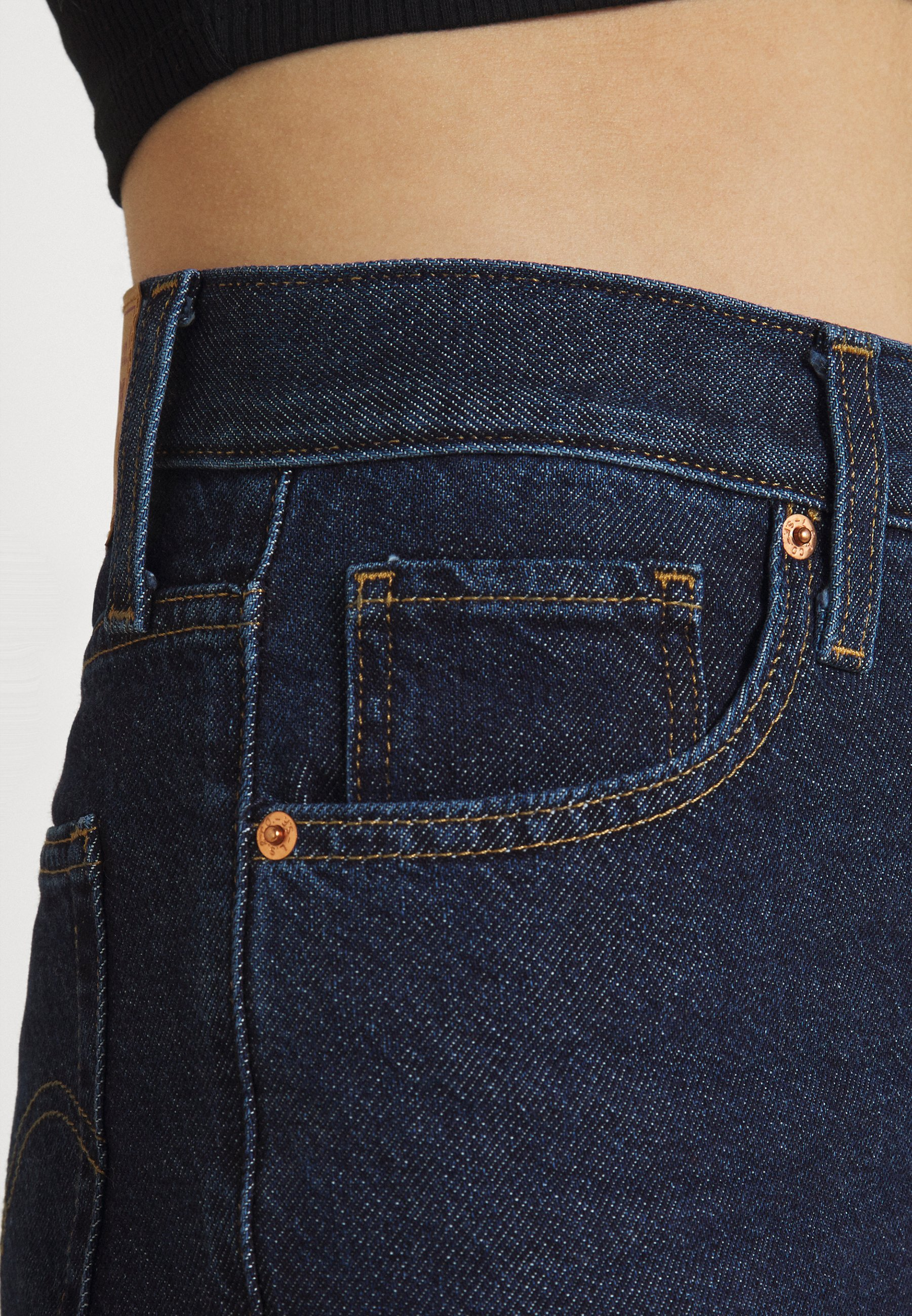 Women HIGH WAISTED MOM JEAN - Jeans Tapered Fit - ocean