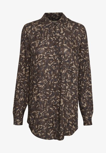 Button-down blouse - brown leaf print